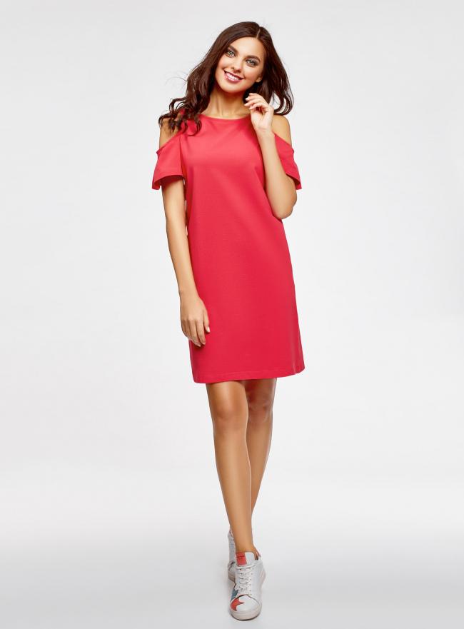 Платье прямого силуэта с открытыми плечами oodji для женщины (розовый), 14001225/47420/4D00N