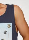 Майка хлопковая с принтом oodji #SECTION_NAME# (синий), 5L700003I-3/44135N/7919P - вид 5