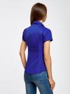 Рубашка с V-образным вырезом и отложным воротником oodji #SECTION_NAME# (синий), 11402087/35527/7501N - вид 3