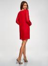 Платье прямого силуэта из струящейся ткани oodji #SECTION_NAME# (красный), 11900150-13/13632/4500N - вид 3