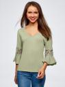 Блузка трикотажная с кружевными вставками на рукавах oodji #SECTION_NAME# (зеленый), 11308096/43222/6000N - вид 2