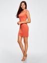 Платье трикотажное облегающего силуэта oodji #SECTION_NAME# (оранжевый), 14008014/16300/5500N - вид 6