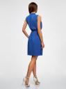 Платье из струящейся ткани с жабо oodji #SECTION_NAME# (синий), 21913018/36215/7500N - вид 3