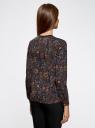 Блузка из струящейся ткани с контрастной отделкой oodji #SECTION_NAME# (синий), 11411059/43414/7945E - вид 3