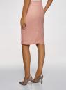 Юбка прямая льняная oodji для женщины (розовый), 21601254-9B/16009/4B00N