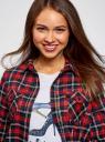 Рубашка клетчатая с нагрудными карманами oodji для женщины (красный), 13L00001-2/48869/4579C