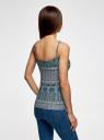 Топ трикотажный на тонких бретелях oodji для женщины (бирюзовый), 14305023-1/46147/2930G