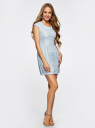 Платье трикотажное кружевное oodji #SECTION_NAME# (синий), 14001154/42644/7000L - вид 6
