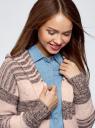 Кардиган полосатый с капюшоном oodji #SECTION_NAME# (розовый), 63205244/46133/4A37S - вид 4