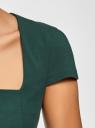 Платье-футляр из плотной ткани с квадратным вырезом oodji #SECTION_NAME# (зеленый), 21902065/31291/6900N - вид 5