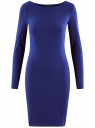 Платье трикотажное облегающего силуэта oodji для женщины (синий), 14001183B/46148/7500N