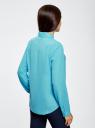 Блузка из струящейся ткани oodji #SECTION_NAME# (бирюзовый), 11400368-3/32823/7300N - вид 3