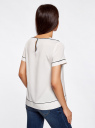 Блузка прямая из струящейся ткани oodji для женщины (белый), 21411122/26546/1279B