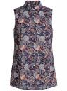 Блузка принтованная из хлопка oodji #SECTION_NAME# (синий), 21412127-1/12836/7959E