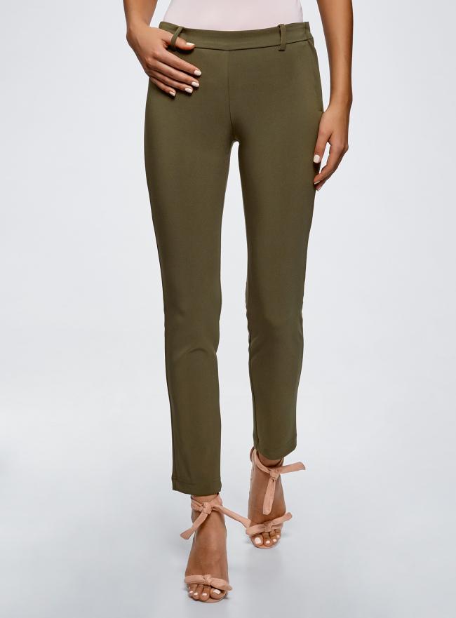 Брюки облегающие на эластичном поясе oodji для женщины (зеленый), 11706196B/42250/6800N