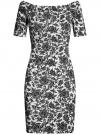 Платье трикотажное с вырезом-лодочкой oodji #SECTION_NAME# (белый), 14007026-1/37809/1029F