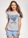 Пижама с шортами и принтом oodji для женщины (серый), 56002213-7/44135N/2070Z