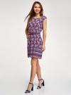 Платье вискозное с поясом oodji для женщины (фиолетовый), 11910073-3B/26346/8373E - вид 6