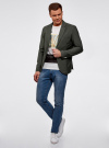 Пиджак приталенный с накладными карманами oodji #SECTION_NAME# (зеленый), 2B510005M/39355N/6600N - вид 6
