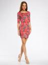 Платье трикотажное облегающее oodji #SECTION_NAME# (красный), 14001121-3B/16300/4366F - вид 6
