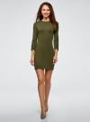 Платье вязаное с рукавом 3/4 oodji #SECTION_NAME# (зеленый), 63912222-2B/45109/6800N - вид 2