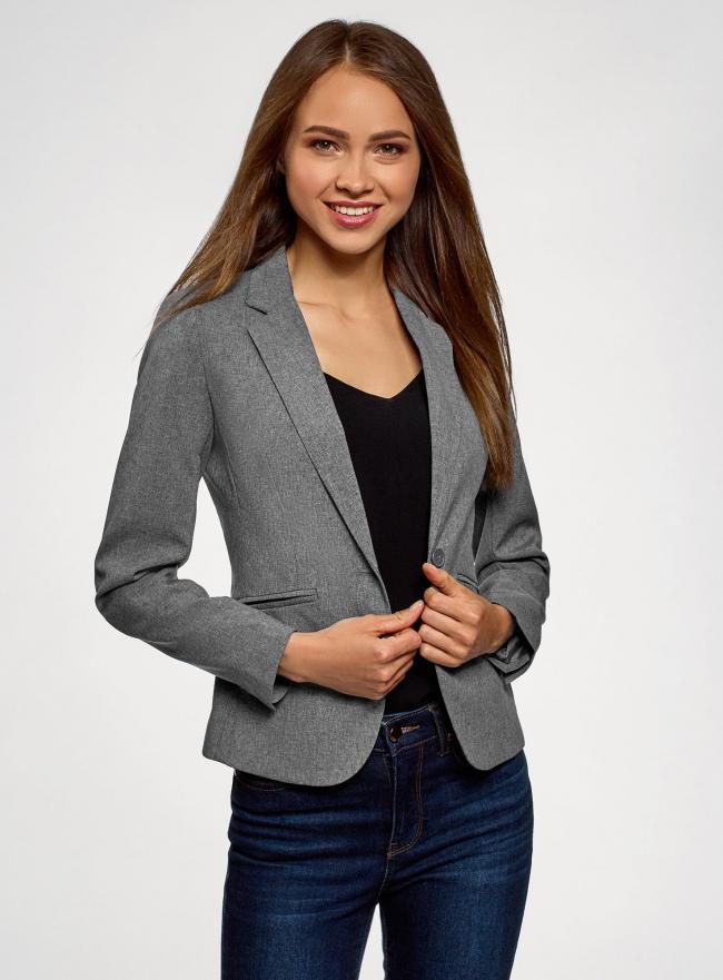 Жакет базовый приталенный oodji для женщины (серый), 11200286B/14917/2500M