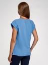 Футболка хлопковая базовая oodji для женщины (синий), 14707001-4B/46154/7502N