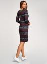 Платье трикотажное с вырезом-капелькой на спине oodji #SECTION_NAME# (черный), 24001070-5/15640/2945E - вид 3