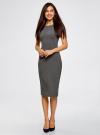 Платье миди с вырезом на спине oodji #SECTION_NAME# (серый), 24001104-5B/47420/2500M - вид 2