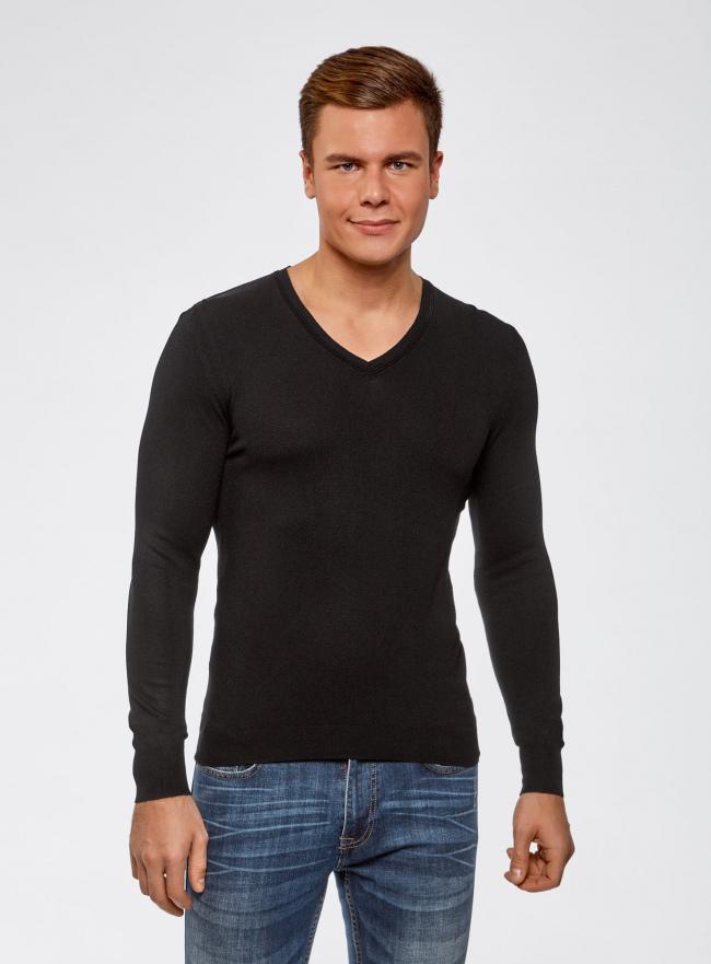Пуловер базовый из вискозы с V-образным вырезом oodji #SECTION_NAME# (черный), 4L212140M/39795N/2900N