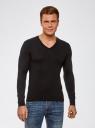 Пуловер базовый из вискозы с V-образным вырезом oodji #SECTION_NAME# (черный), 4L212140M/39795N/2900N - вид 2