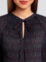 Блузка гофрированная с завязками oodji #SECTION_NAME# (черный), 11414005/46166/2973F - вид 4