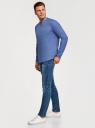 Рубашка льняная без воротника oodji #SECTION_NAME# (синий), 3B320002M/21155N/7500N - вид 6