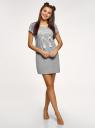 Платье домашнее с принтом oodji #SECTION_NAME# (серый), 59801006-21/46154/2012Z - вид 2