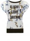 Блузка комбинированная с принтом oodji #SECTION_NAME# (белый), 21400311-7/15018/1219P