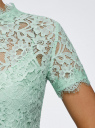 Блузка ажурная с коротким рукавом oodji #SECTION_NAME# (зеленый), 11401277/48132/6500L - вид 5