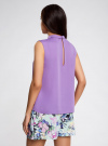 Блузка базовая без рукавов с воротником oodji #SECTION_NAME# (фиолетовый), 11411084B/43414/4C00N - вид 3