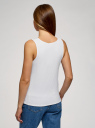 Майка на широких бретелях в рубчик oodji для женщины (белый), 14305045/46412/1000N