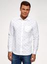 Рубашка хлопковая с нагрудным карманом oodji #SECTION_NAME# (белый), 3L310178M/48974N/1079G - вид 2