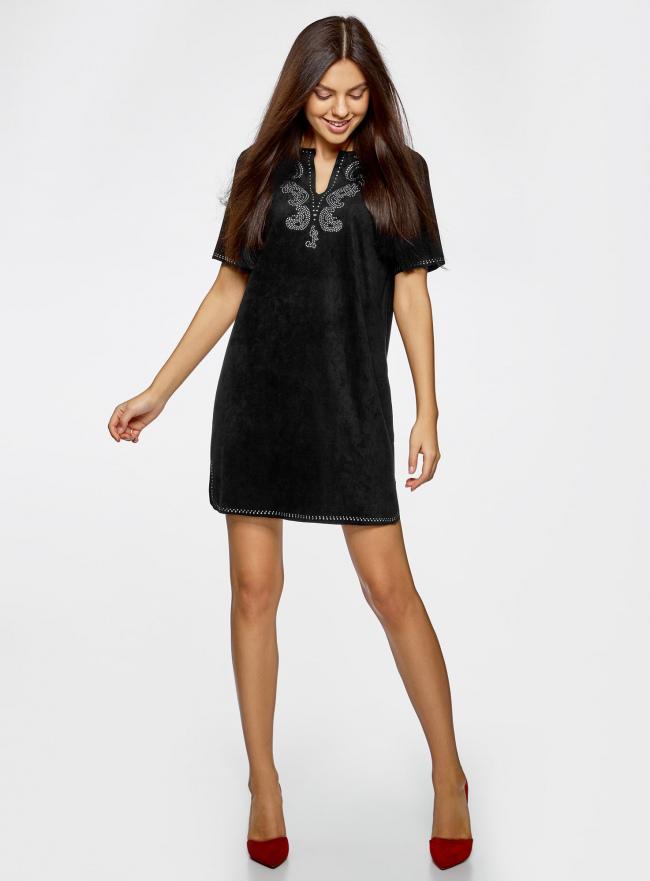 Платье из искусственной замши с декором из металлических страз oodji #SECTION_NAME# (черный), 18L01001/45622/2900N