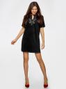 Платье из искусственной замши с декором из металлических страз oodji для женщины (черный), 18L01001/45622/2900N