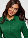 Блузка прямого силуэта с нагрудным карманом oodji #SECTION_NAME# (зеленый), 11411134B/46123/6E00N - вид 4