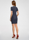 Платье трикотажное с коротким рукавом oodji для женщины (синий), 14011007/45262/7900N - вид 3