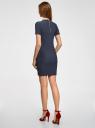 Платье трикотажное с коротким рукавом oodji #SECTION_NAME# (синий), 14011007/45262/7900N - вид 3