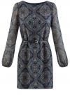 Платье из шифона с ремнем oodji #SECTION_NAME# (синий), 11900150-5/13632/7933E