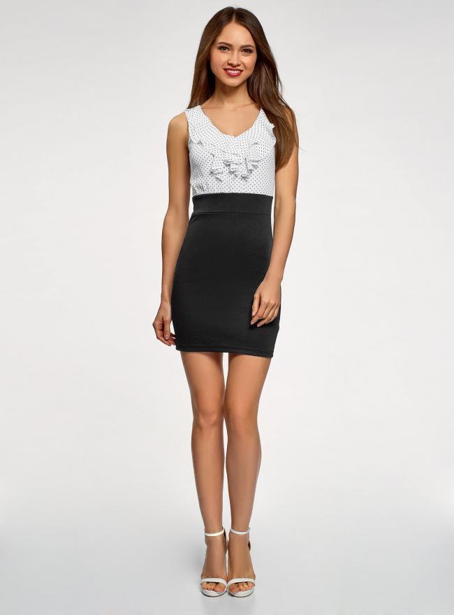 Платье трикотажное комбинированное oodji для женщины (черный), 14005124/42376/2910D