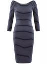 Платье облегающее с вырезом-лодочкой oodji #SECTION_NAME# (синий), 14017001-2B/37809/7912S