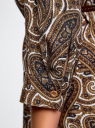 Туника принтованная из вискозы с ремнем oodji для женщины (коричневый), 21412057-1/17466/1233E