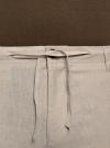 Брюки льняные на завязках oodji для мужчины (бежевый), 2B200018M/44233N/3300N - вид 4