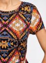 Платье принтованное из вискозы oodji #SECTION_NAME# (разноцветный), 11900191/26346/2959E - вид 5